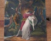 Victorian hand colored print, Celadon and Amelia, William Hamilton painting, Death of Amelia, Miniature colour print, Victorian print