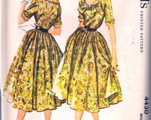 "Vintage 1958 McCall's 4430 Misses' Scoop Neck Dress Sewing Pattern Size 12 Bust 32"" UNCUT"