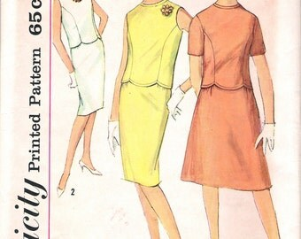 """Vintage 1963 Simplicity 4473 Two-Piece Dress With Two Skirts Sewing Pattern Size 14 Bust 34"""""""