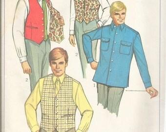 "Vintage 1968 Simplicity 7973 Men's Shirt & Reversible Vest Sewing Pattern Size  Neck 16 1/2"""