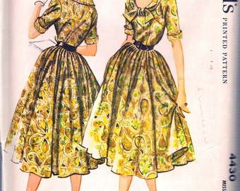 "Vintage 1958 McCall's 4430 Misses' Scoop Neck Dress Sewing Pattern Size 12 Bust 32"" UNCUT"