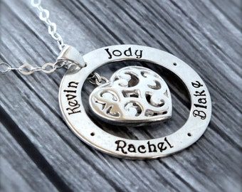 Personalized Mothers Necklace / Family Necklace /  Family Jewelry with Kids Names  / Sterling Silver Filigree Heart Necklace /Hand Stamped