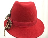 Red Fur Felt Women's Fedora, Small Brim Fedora Hat
