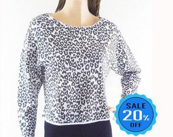 Leopard Shirt Tiger T Shirts Women T Shirt blogger shirt cool tshirt teen shirt cropped Crop Top Long Sleeve Shirt Sceen Print Size M