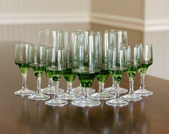 Sasaki Crystal Set (13 Pieces) - Harmony Pattern, Citron Lime Green - Water / Juice Goblets & Liquor Cocktail - Vintage Serving