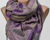 Purple and Lilac.  Long Scarf or Shawl or Neck Wrap. Christmas gift Scarf. Spring scarf wrap.