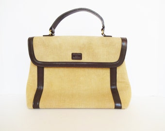 Vintage Lulu Guinness Tan Corduroy and Brown Leather Purse / Top Handle Handbag