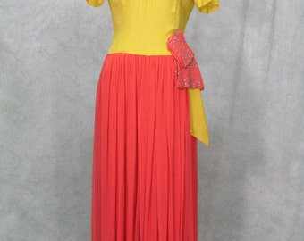 1940s Vintage Formal Joan Crawford 1940s Dress Unique Colors and Rhinestone