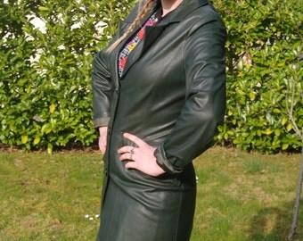 Vintage 90 Long leather coat dark forest green