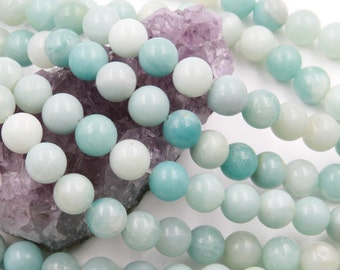 Lot of 5 strands 10mm Blue Amazonite (N) Loose Spacer Beads Round 15.5 inch strand (BD5928)