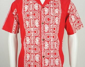 Vintage 1960's Cotton Tiki Hawaiian Shirt size M/L