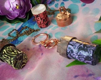 Psychedelic print secret bottle necklaces and key rings