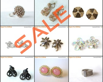 SALE .... Vintage Earrings & Ring Section ~ Clip on, Pierced, Screw Back, Chandelier