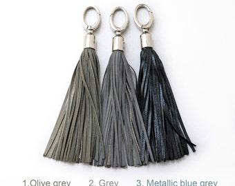 Leather Tassels, Grey tones, Long tassels, Large tassel keychains