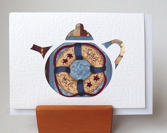 "TEAPOT Card LIFE BUOY Fabric 6"" x 4"" with envelope. Blank for any occasion White Textured card. Boat seaside themed fabric ocean card"