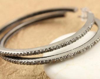 Pave Diamond Earrrings, Pave Diamond Hoops, Diamond Hoops Earrings, Pave Hoop Earrings, Diamond Earrings, Oxidized Silver. (Earr-001)