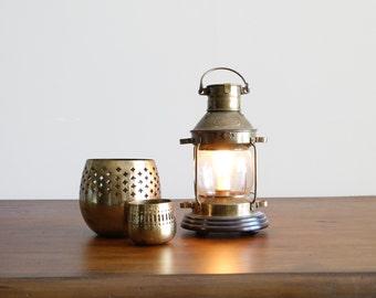 Vintage Anchor Lantern Brass Electric Lamp