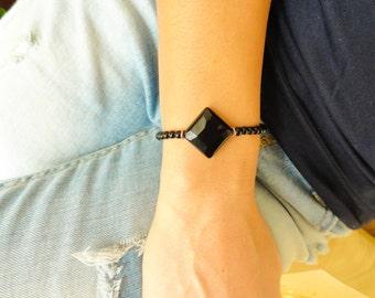 Black oynx bracelet, diamond oynx jewelry, facetted oynx accessories, black jewelry gift for best friend christmas gift for women jewelry
