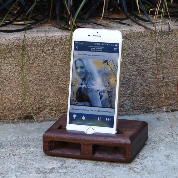 iPhone 6 Plus  - The RETRO Acoustic Docking Station in WALNUT – Use With or Without a Cover - Amplifies the Sound