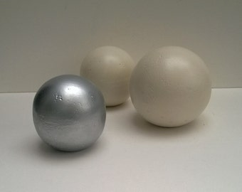 Decorative Spheres, Set Of Three, One Large, Two Small Cast Cement Balls, White And Silver Finish