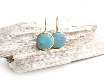 Matte Gold Plated Turquoise Round Earrings