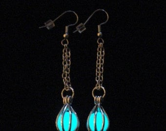 Enchanted Caged Full Moon Earrings Glow In The Dark Orb Earrings Silver And White (glows aqua blue)