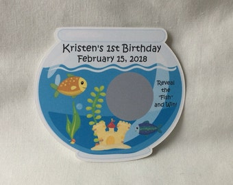 Unique Personalized Baby Shower Fish Bowl, Under the Sea, Baby Shower, Birthday, Any Occassion Scratch Off Lotto Game Cards