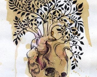 skull art, small art print, anatomical heart, heart in bloom, digital art print, small wall art, mini art print, trippy art