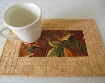 Quilted Mug Rug, Falling Leaves Snack Mat, Maple Leaves Coaster, Autumn Candle Mat, Handmade, Warm Colors, Gold, Orange, Brown, Gift Idea