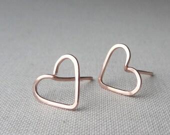 Heart Earrings, Valentines Day Jewelry, Rose Gold Studs, Gold Heart Earrings, Silver Heart Earrings, Post Earrings, Heart Jewelry
