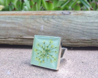 Unique rings, cute ring, real flower ring, nature inspired ring, light blue ring, resin jewelry, resin jewelry, square ring, nature jewelry