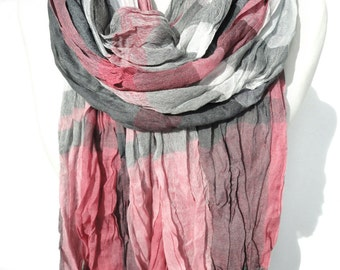 Plaid Pink Pashmina Scarf. Crinkle Fringed Scarf. Unisex Scarf. Woman Man Scarf. Birthday gift for him. Men Soft Scarves. 35x79in Ready2Ship