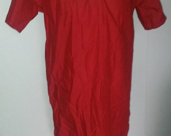 L Classic Tunic in Red Cotton, Short Sleeve