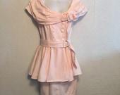 1980s Vintage Pink Denim Dress ~ Off Shoulder with Belted Peplum