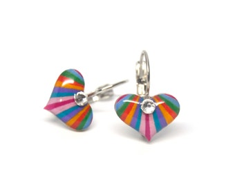 Dangle or studs earrings hand painted rainbow hearts 15mm faux diamond