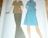 SALE 7666 Simplicity Size 12-14 Misses Pullover Dress or Top & Scarf 1976 Vintage Uncut