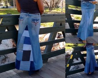 Patchwork Stretch Denim Maxi Skirt ~ Light Wash A Line Denim Maxi Skirt