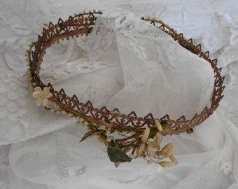 French Vintage, Bridal Wax Flowers , Santos Crown ,Antique Wax Flower ,Wedding Crown  ,French Shabby Bridal,Something Old, Flower Crown
