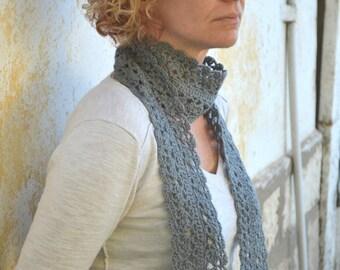 Crochet lace scarf, grey scarflette, infinity scarf, long neckwarmer