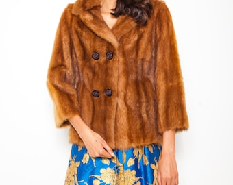S.U.P.E.R SALE was 375 now 150 classic vintage 50s/60s MARK FOY'S luxury mink fur bracelet sleeve jacket coat