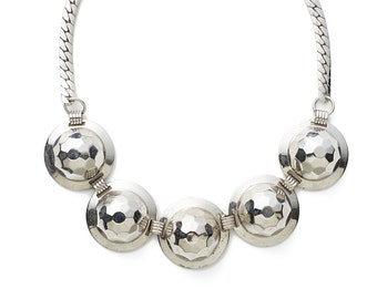REDUCED was 50 now 40 fabulous VINTAGE 70s/80s KARU silver chrome mirror ball disco necklace