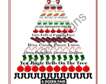 Custom...The Twelve Days of Family Christmas Print, Choose your 12 items for the tree, Christmas Tree,  Family, Family Christmas,