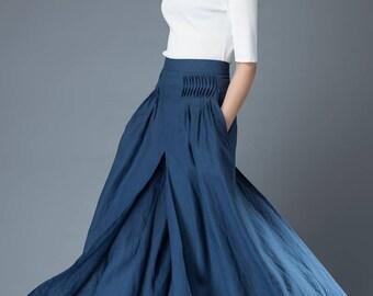 Linen trousers, blue culottes, womens pants, maxi linen culottes, loose fit pants, elegant trousers, long pants, handmade trousers C836