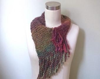 Fringe Scarf / Woodland Scarf / Infinity Scarf / Multicolor Scarf / Rainbow Scarf / DottieQ / Crochet Scarf