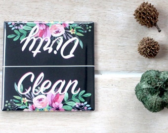 Chic Floral Style Clean Dirty Dishwasher Magnet - Retro vintage dishes plates sign birthday christmas office home party favors gag gift idea