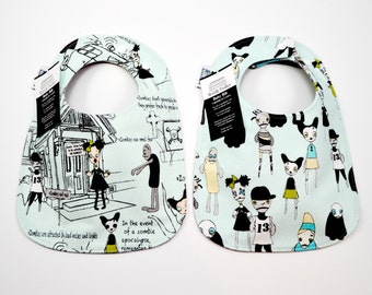 Baby Bib, zombies, zombie, zombie appocalypse, the walking dead, feeding, drool, Organic Cotton, 3 months to 2 years, Triple layered