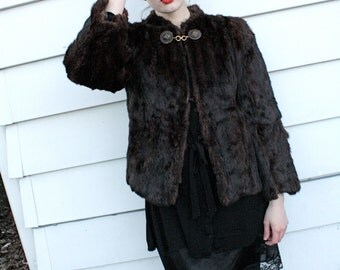 50s Brown Fitted Fur Coat