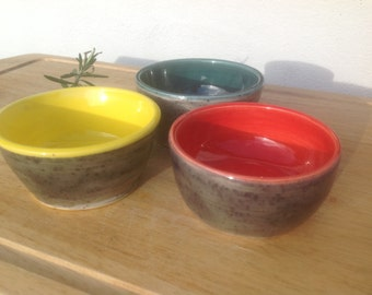 Set of 3 Small Pottery Bowls - Perfect Wedding Gift Idea - Colourful and Bright - Made in UK
