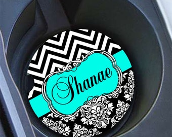 Personalized gift for wife, Monogram turquoise car coaster, Chevron car cup holder coaster, Damask car accessory, Turquoise black (1321)