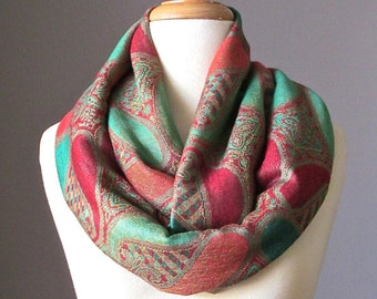 Large paisley  Infinity Scarf , Pashmina  Orange,  Green Turquoise,  Red